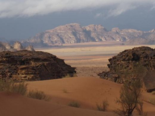 Colorful cliffs in the desert near Wadi Rum