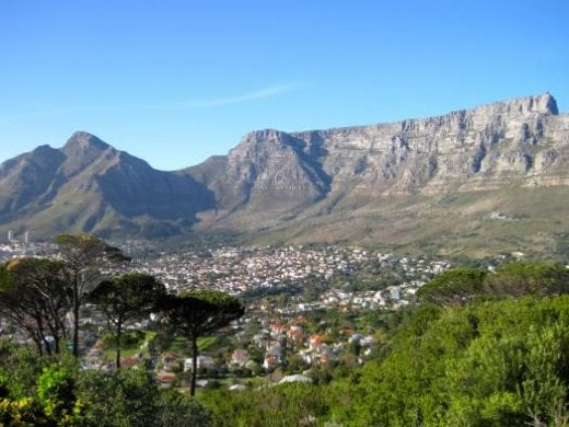 Table Mountain towers over Cape Town