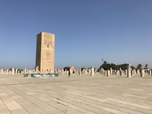 See the Hassan Tower in Rabat