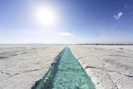 salt flats with water pool