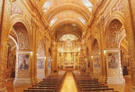Visit La Compania to see the ornate gold interior