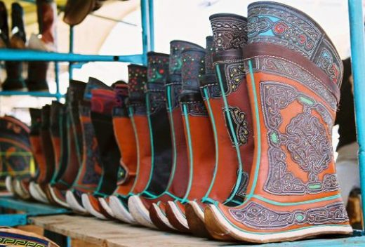 Find traditional Mongolian boots at the Naran Tuul Market