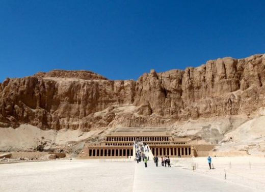 The Temple of Queen Hatshepsut sits among dramatic rock formations