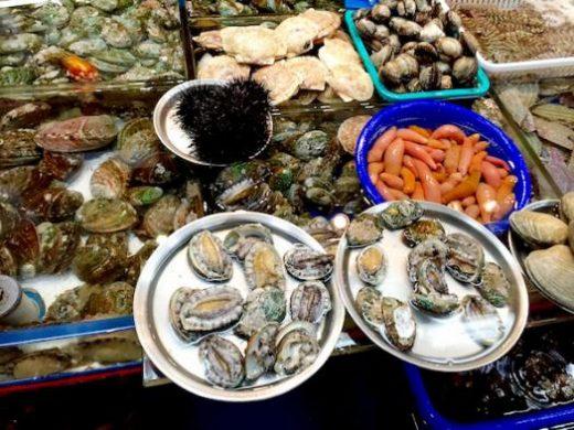 Unique sea food at the Jagalchi fish market