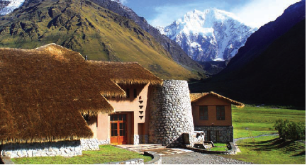 Stay at Salkantay Lodge with a view of rugged Mt. Salkantay