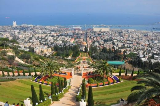 Look out over Haifa from the Bahai Gardens.