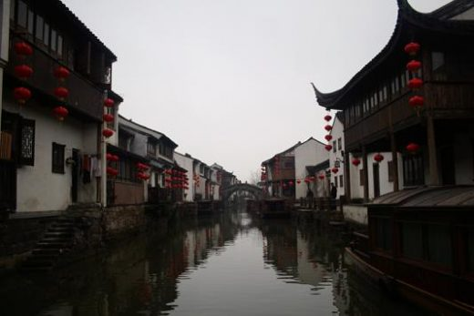 Picturesque canal in Suzhou's river district