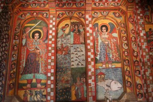 Marvel at detailed wall paintings at Lake Tana