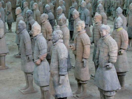 A few dozen of Xian's thousands of terracotta warriors