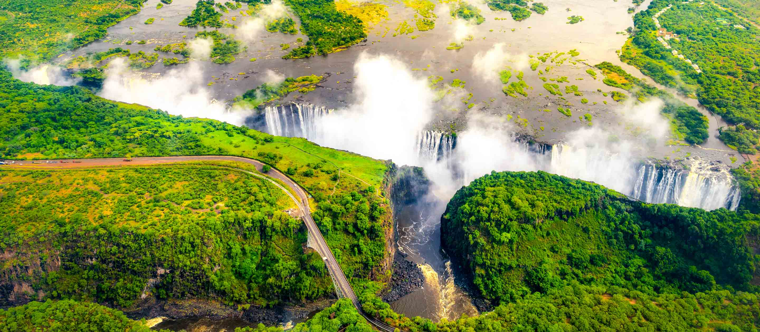 Aerial view of Victoria Falls in Zimbabwe