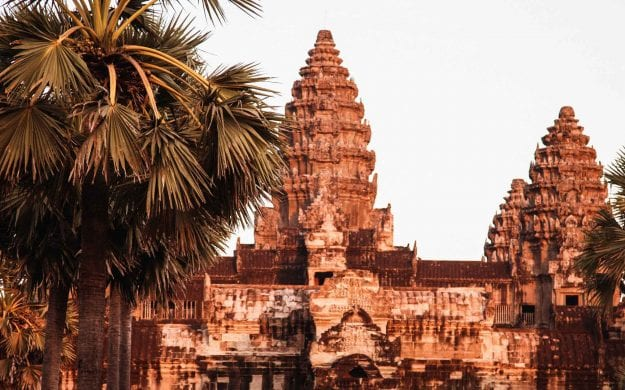 Sunset over Angkor Wat in Siem Reap, Cambodia