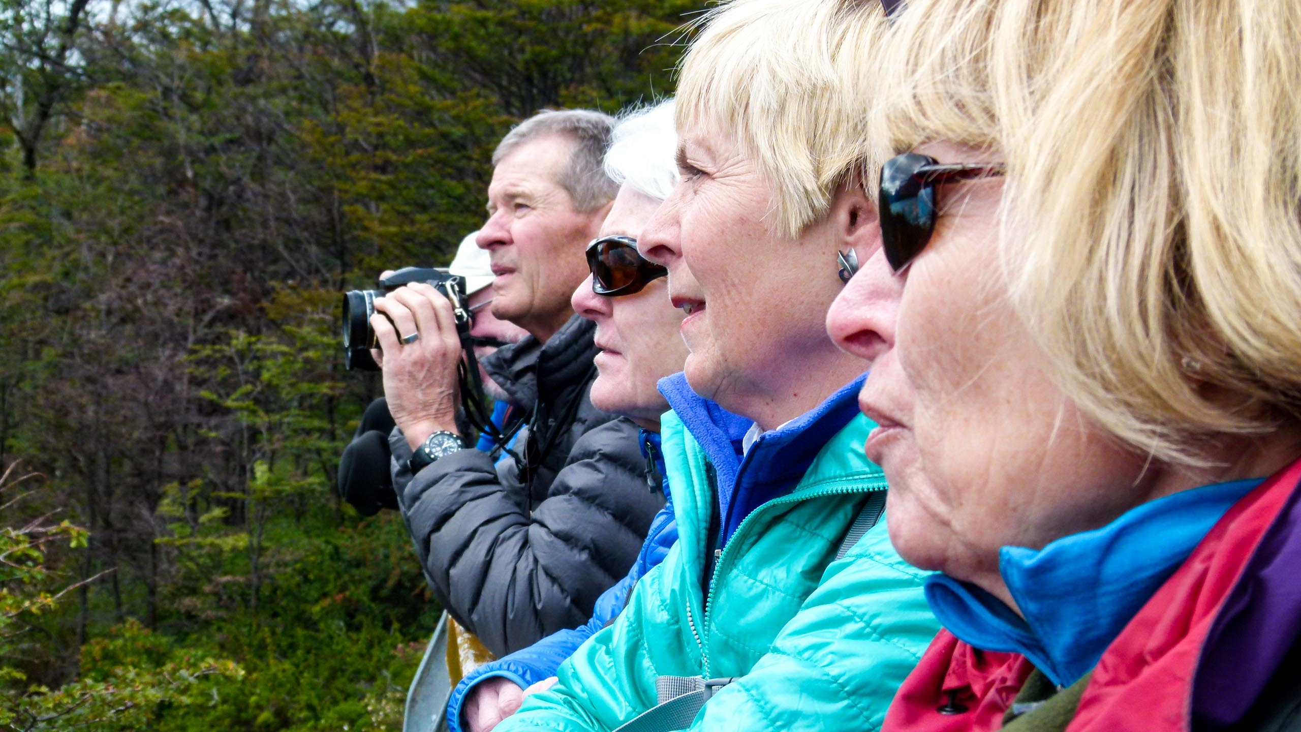 Hiking group looks out at Argentina nature