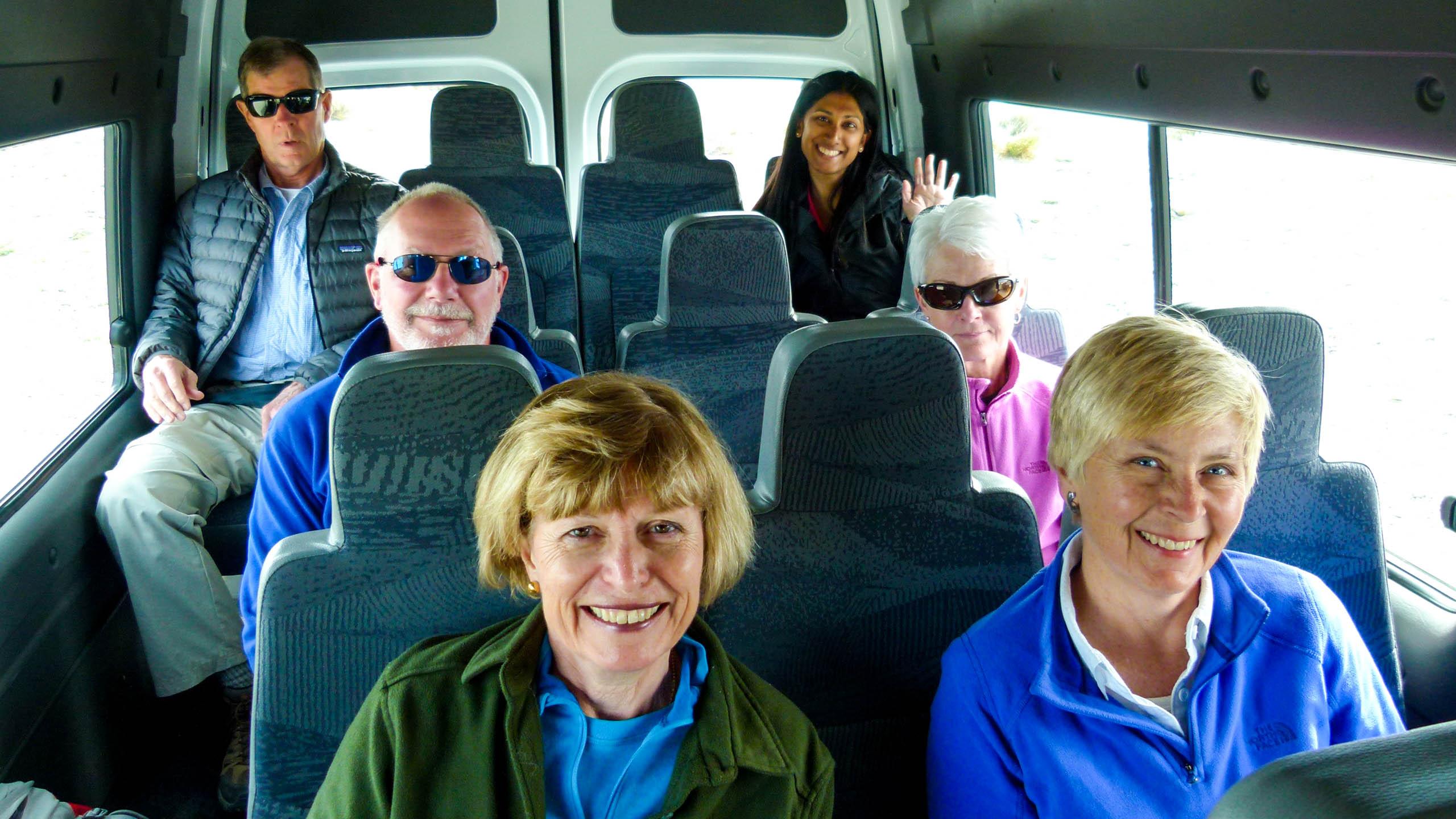Argentina travel group in van