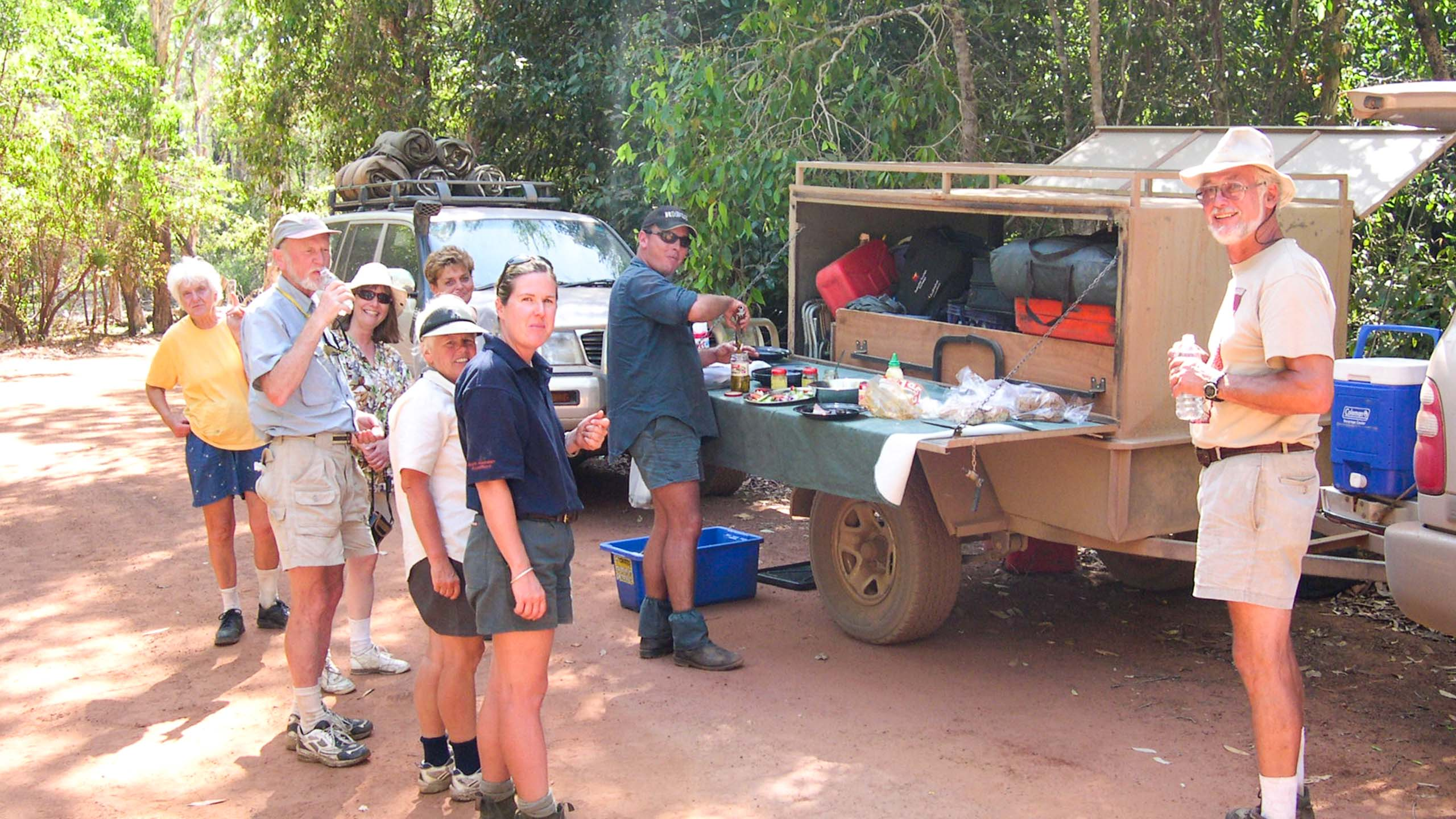 Group of travelers barbecue in Australia