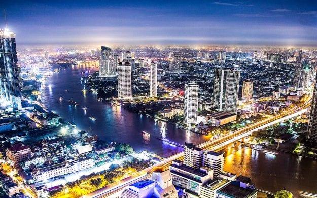 Aerial of Bangkok, Thailand at night