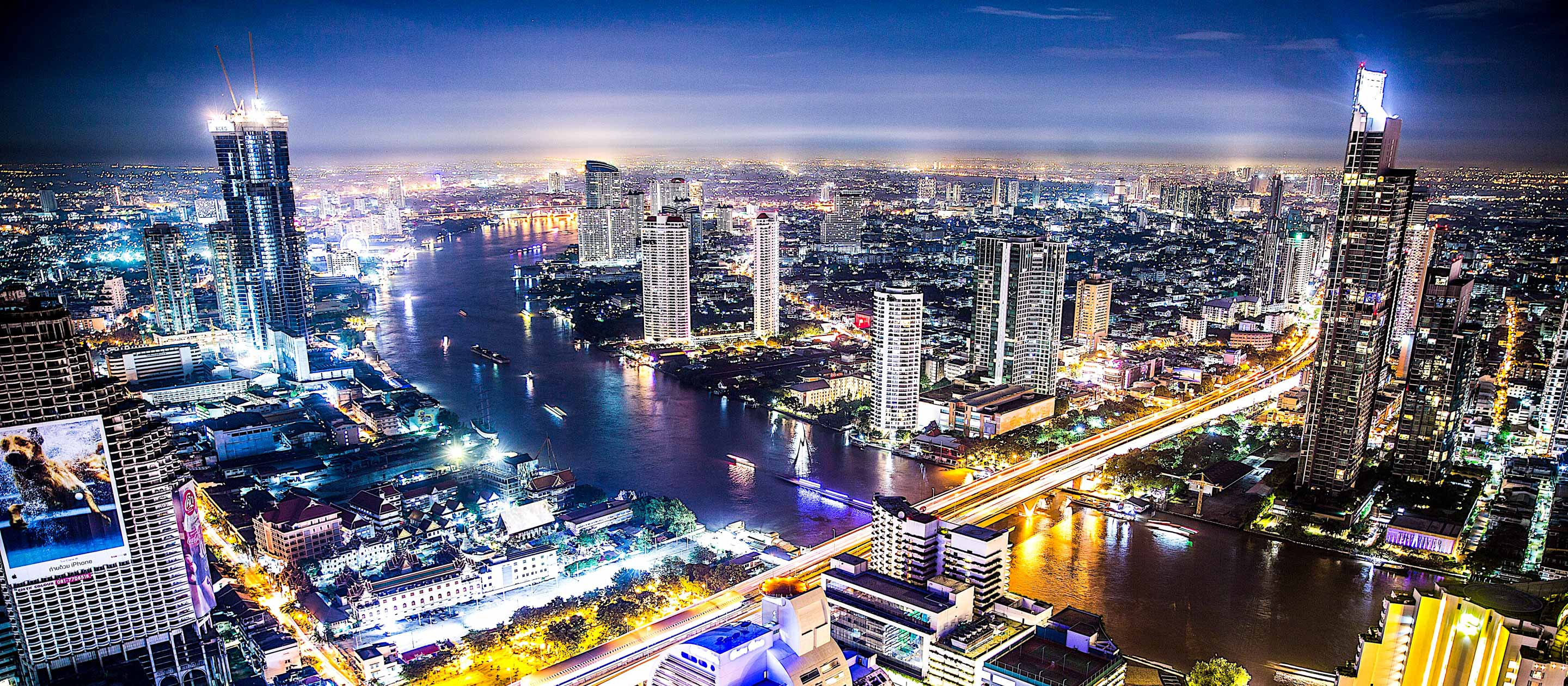 Aerial of Bangkok, Thailand at night