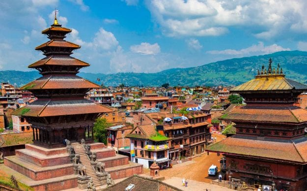 View over rooftops of Bhaktapur, Nepal