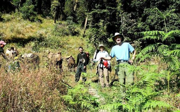 Group of travelers hike in Bhutan