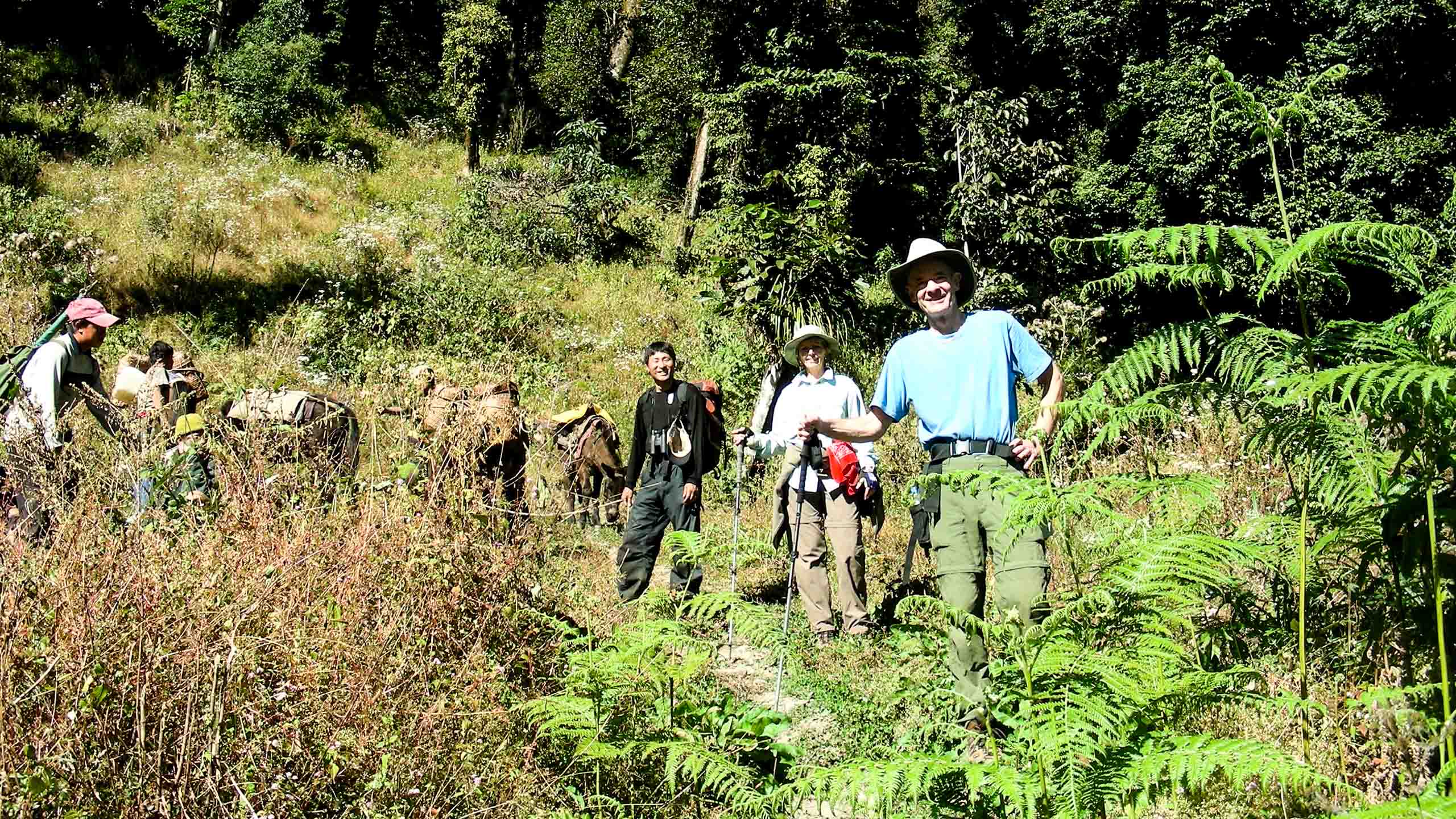 Group of travelers hike in Bhutan