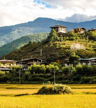 Town resting on hill in Bhutan
