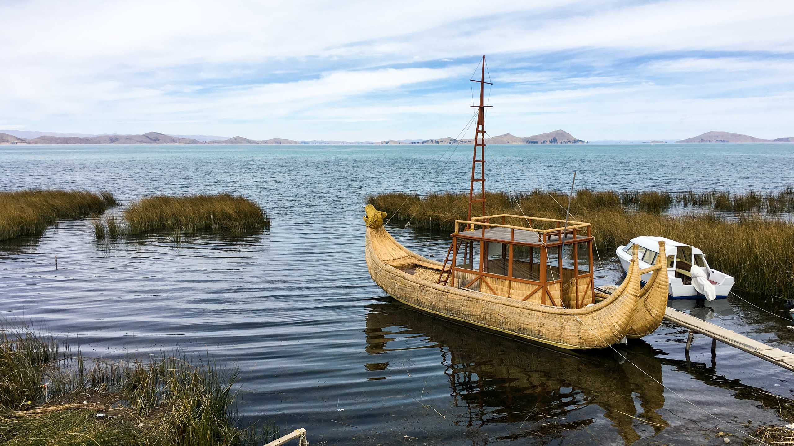 Boat sits on lake in Bolivia