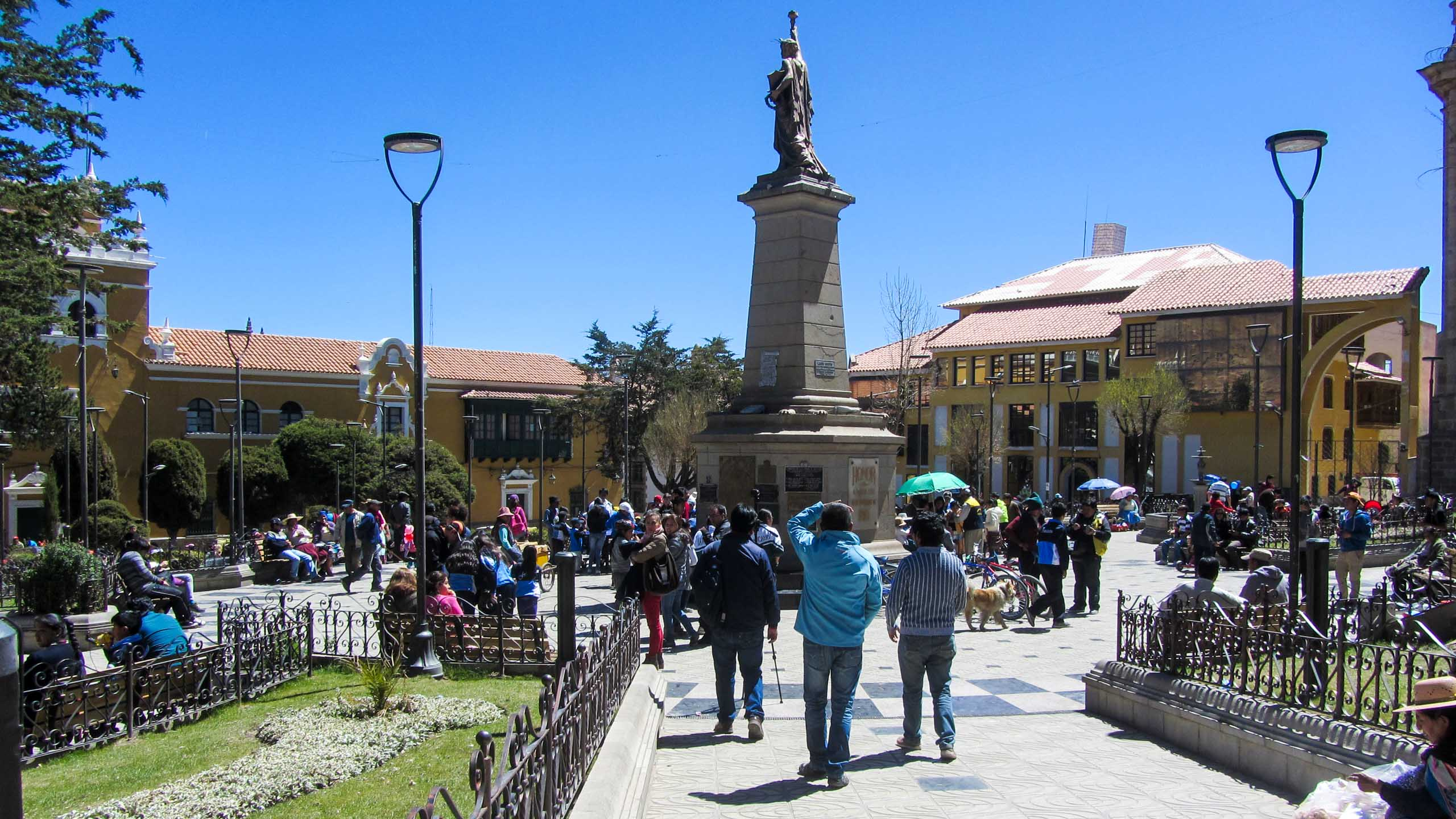 People meander around Bolivia town square