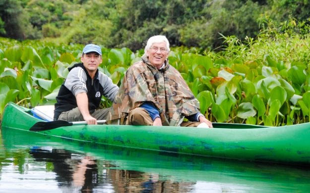 Travelers in canoe on Brazil trip