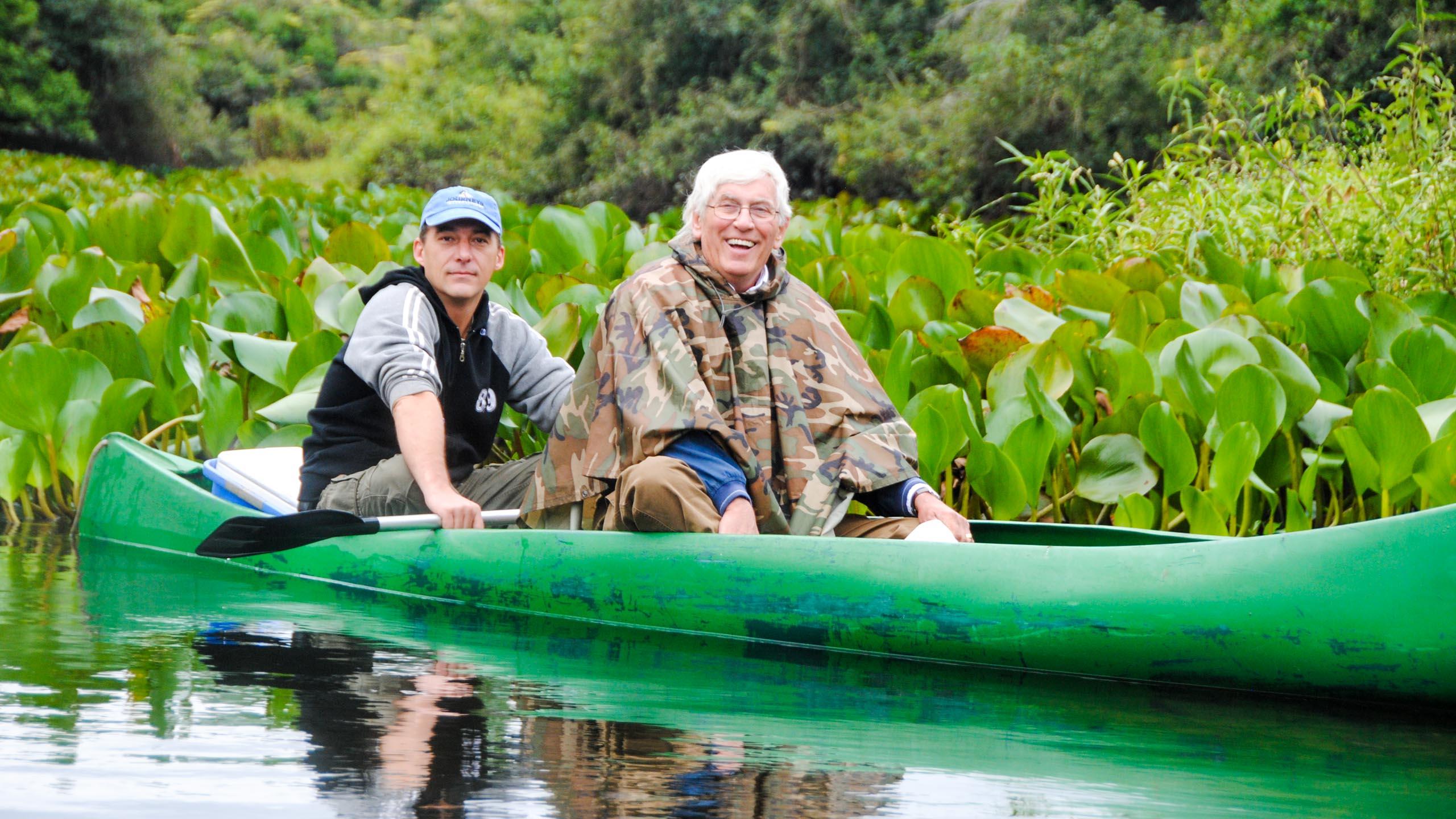 Travelers in canoe on Brazil trip