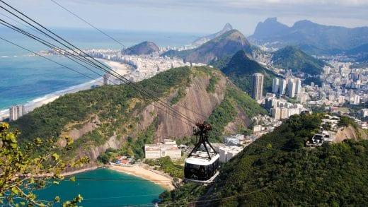 Gondola in the air over Rio de Janeiro