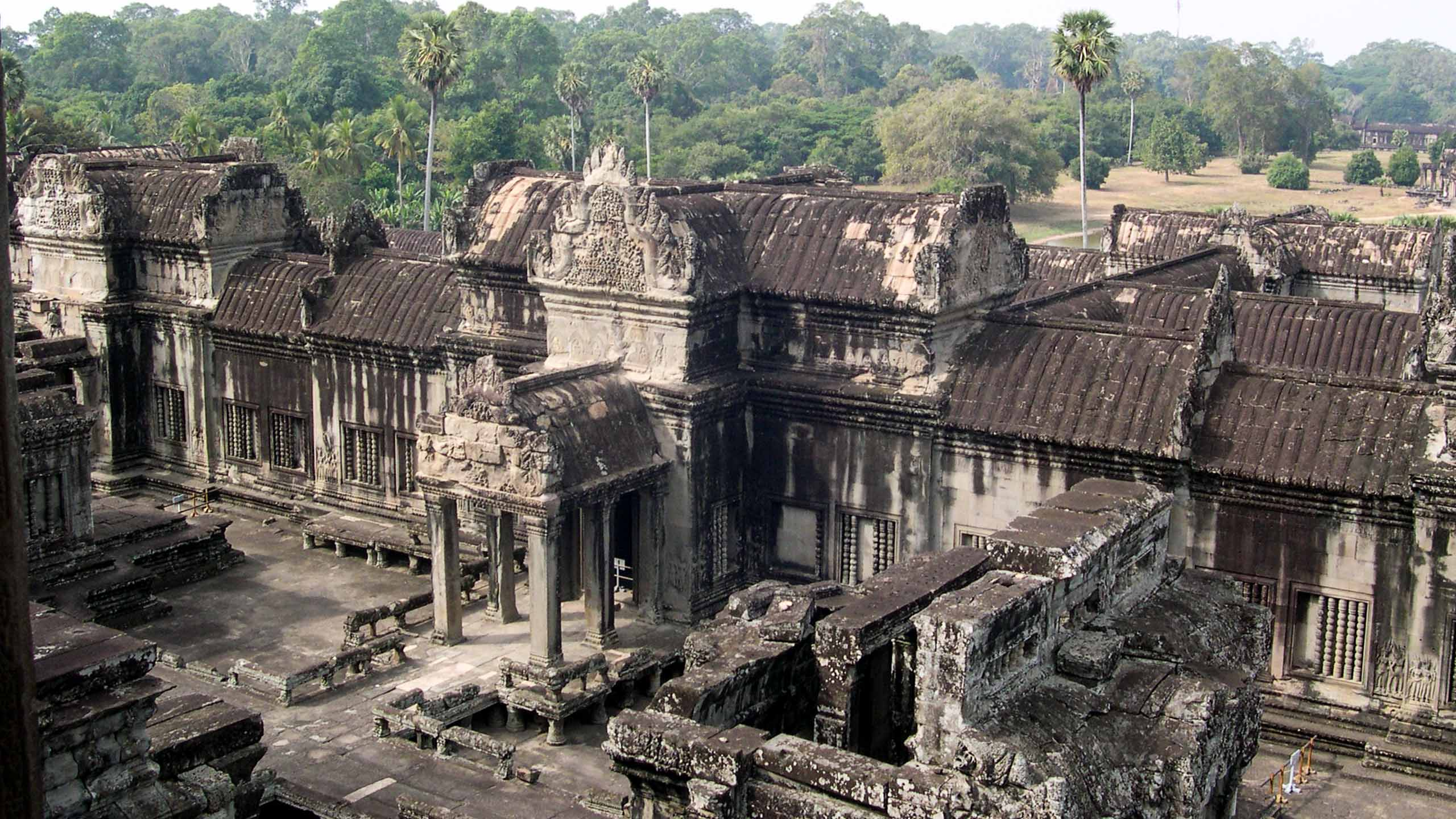 Aerial view of Cambodia ruins