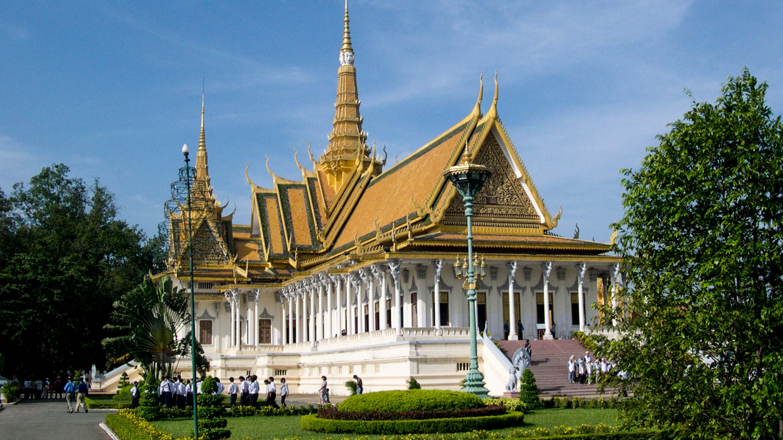 White and gold temple in Cambodia