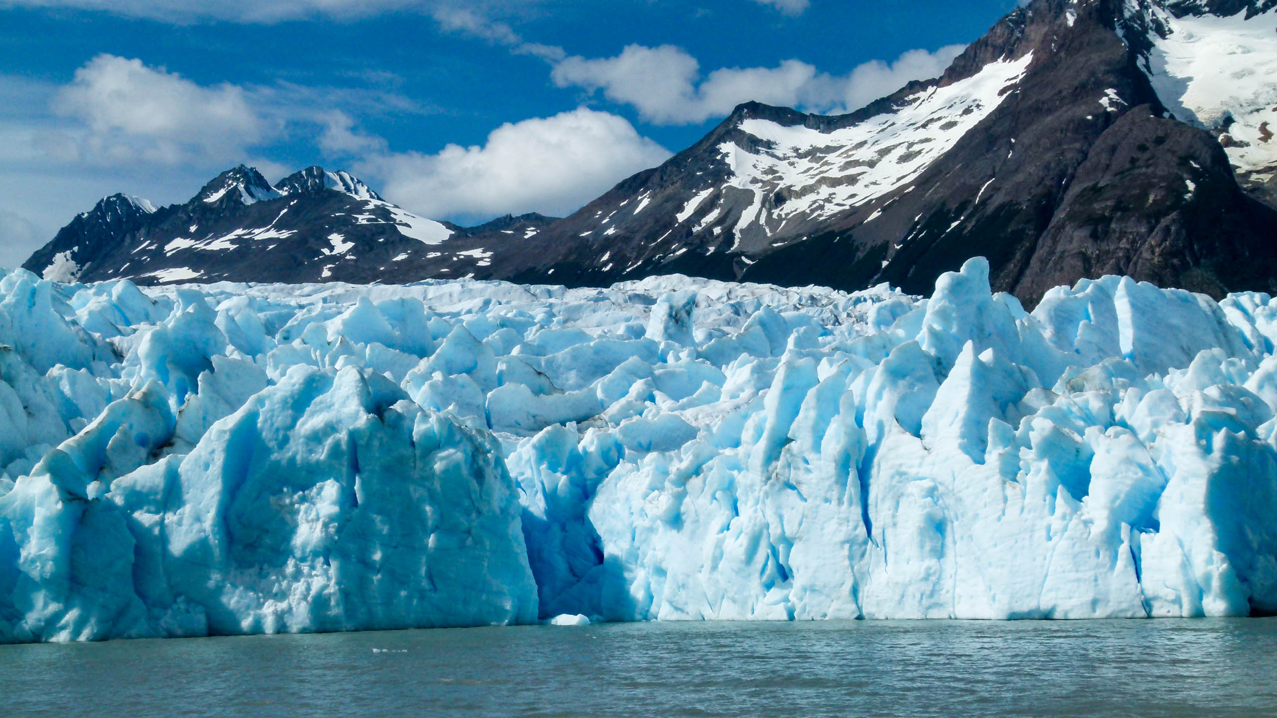 Glacier on edge of water in Chile