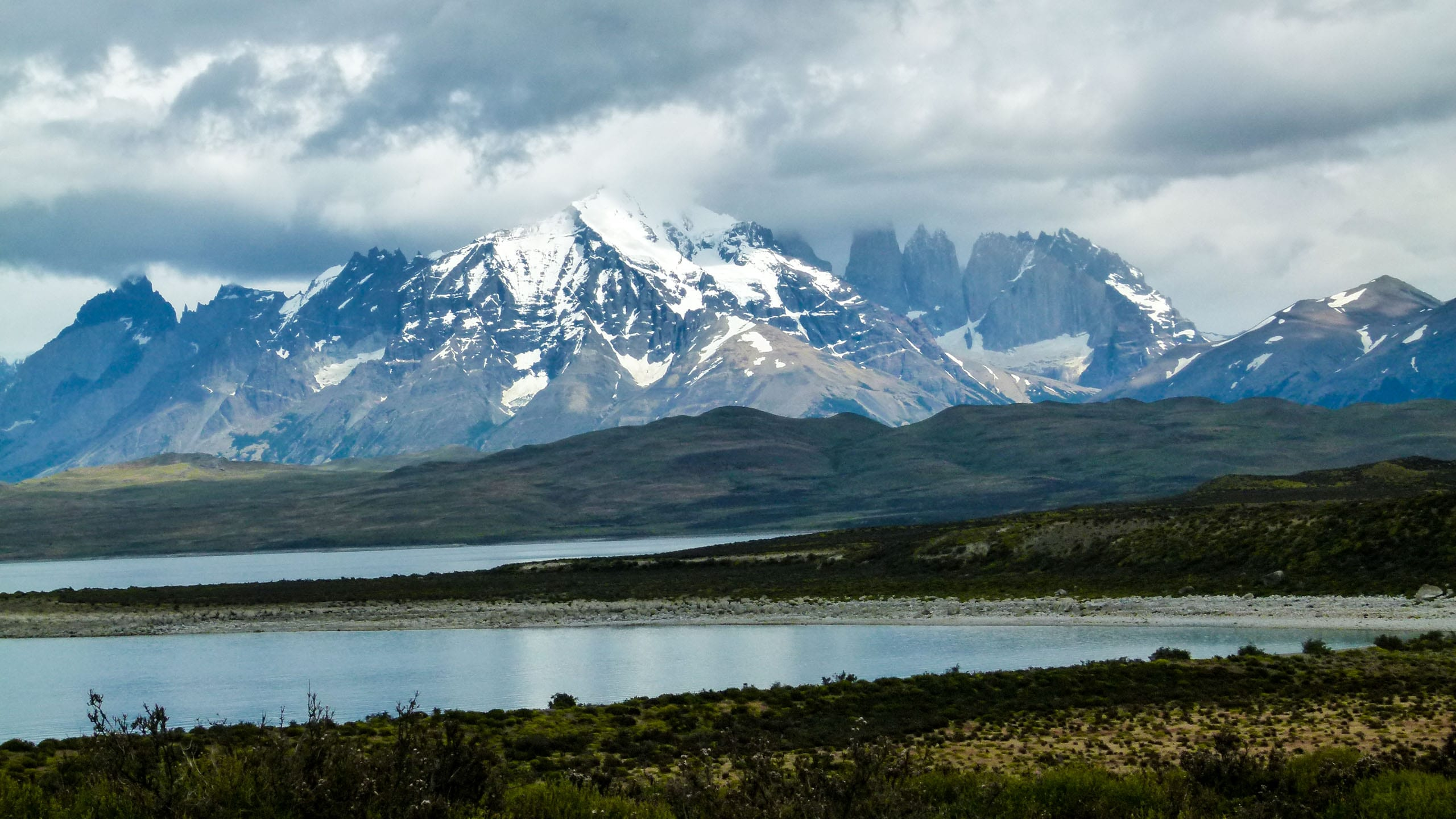 View of Chile mountain range across water