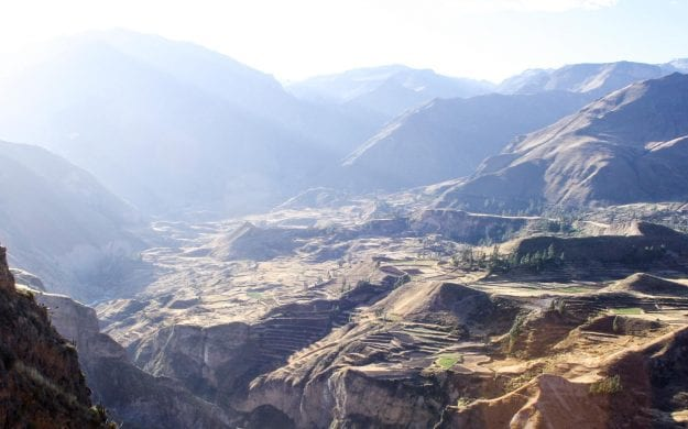 Sun shines over Colca Canyon in Peru