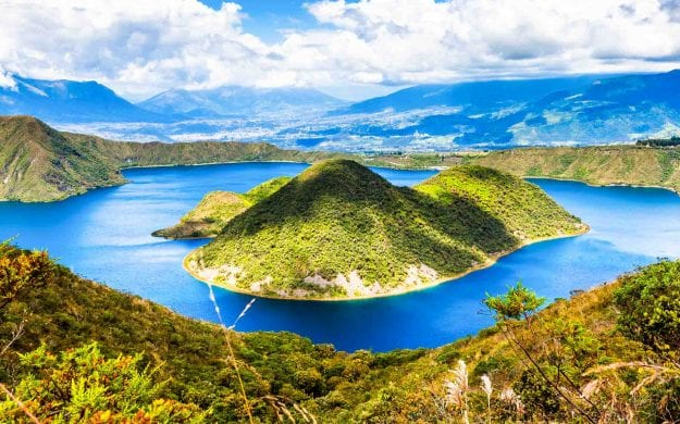 Islands of Lake Cuicocha in Ecuador