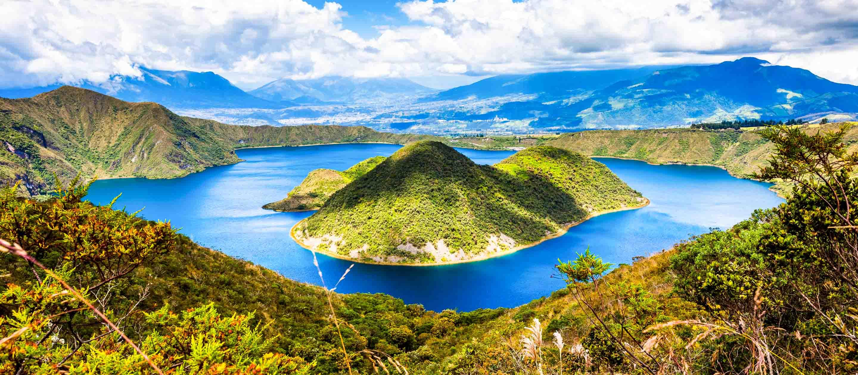 Islands of Lake Cuicocha in Ecuador