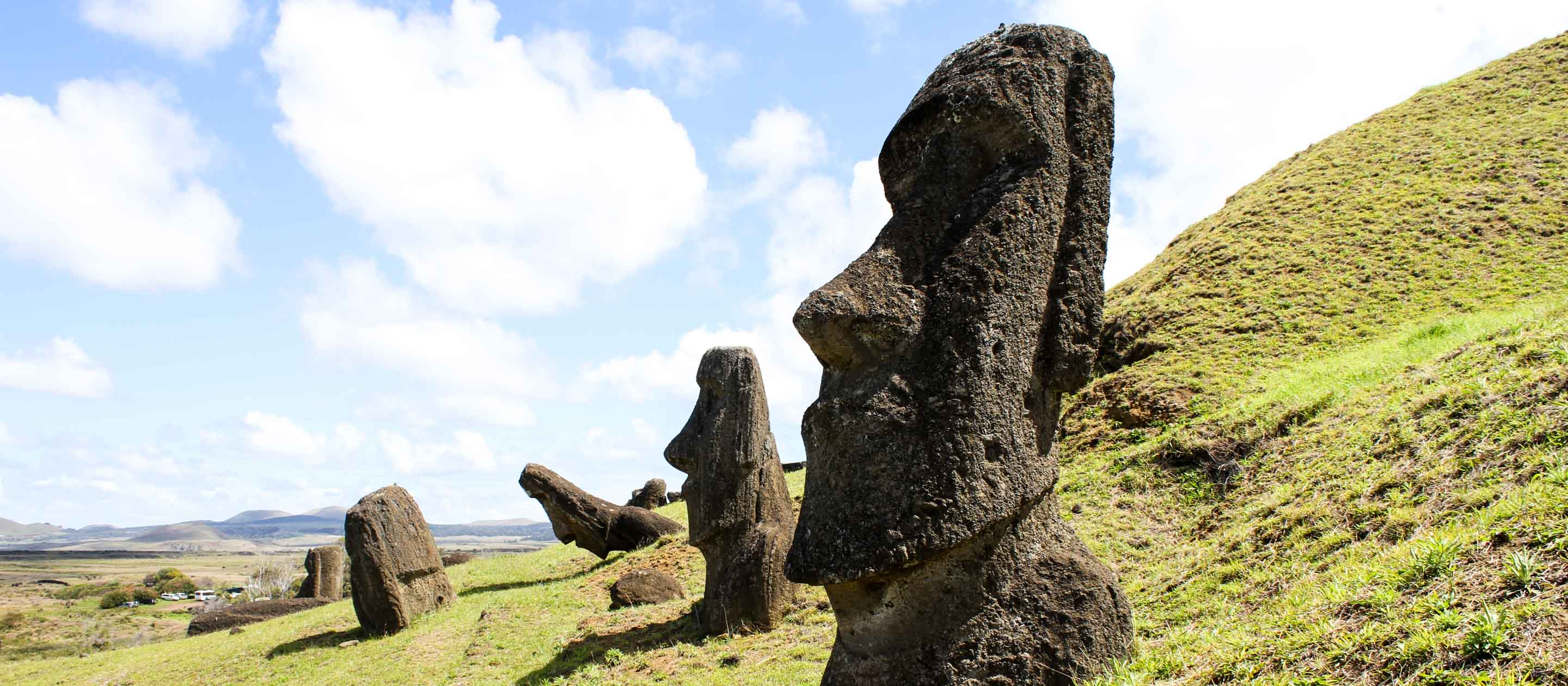 Statues on Easter Island, Chile