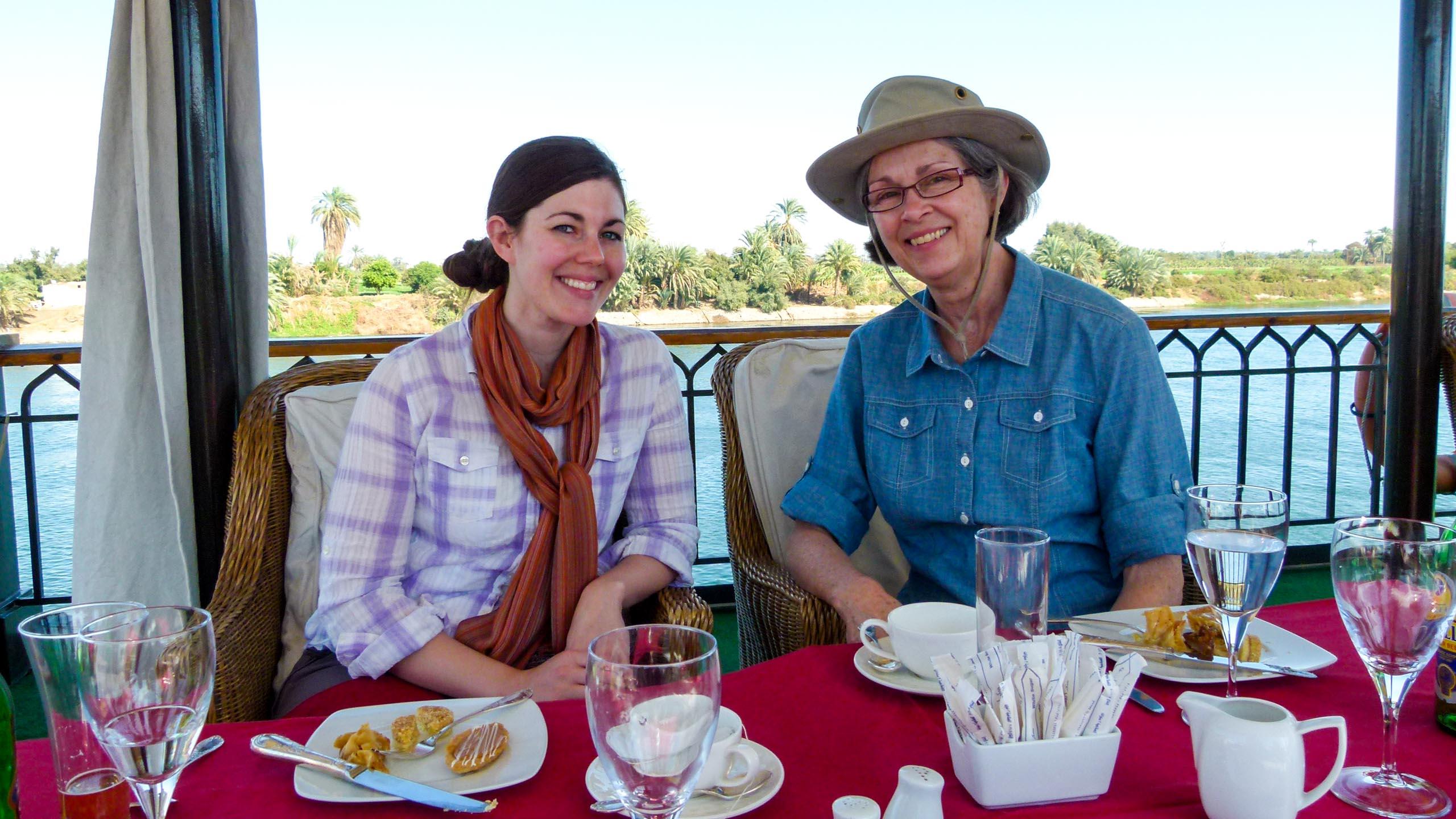 Women having dinner on Egypt river boat