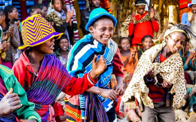 Group of people dance during Ethiopia festival