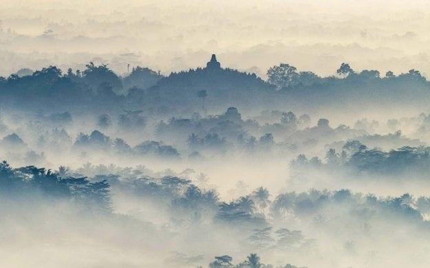 Foggy mountains of Borodubur, India