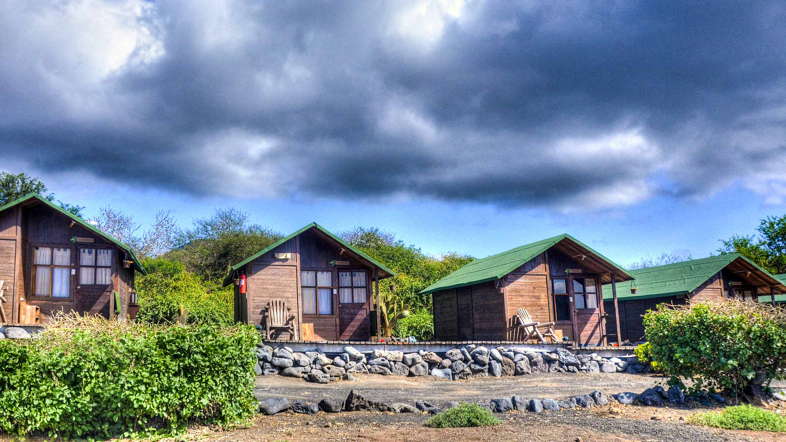 Line of cabins in Galapagos