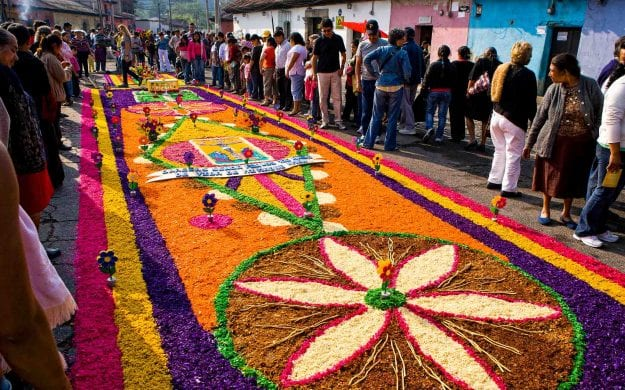 Flower petals in designs on Guatemala street
