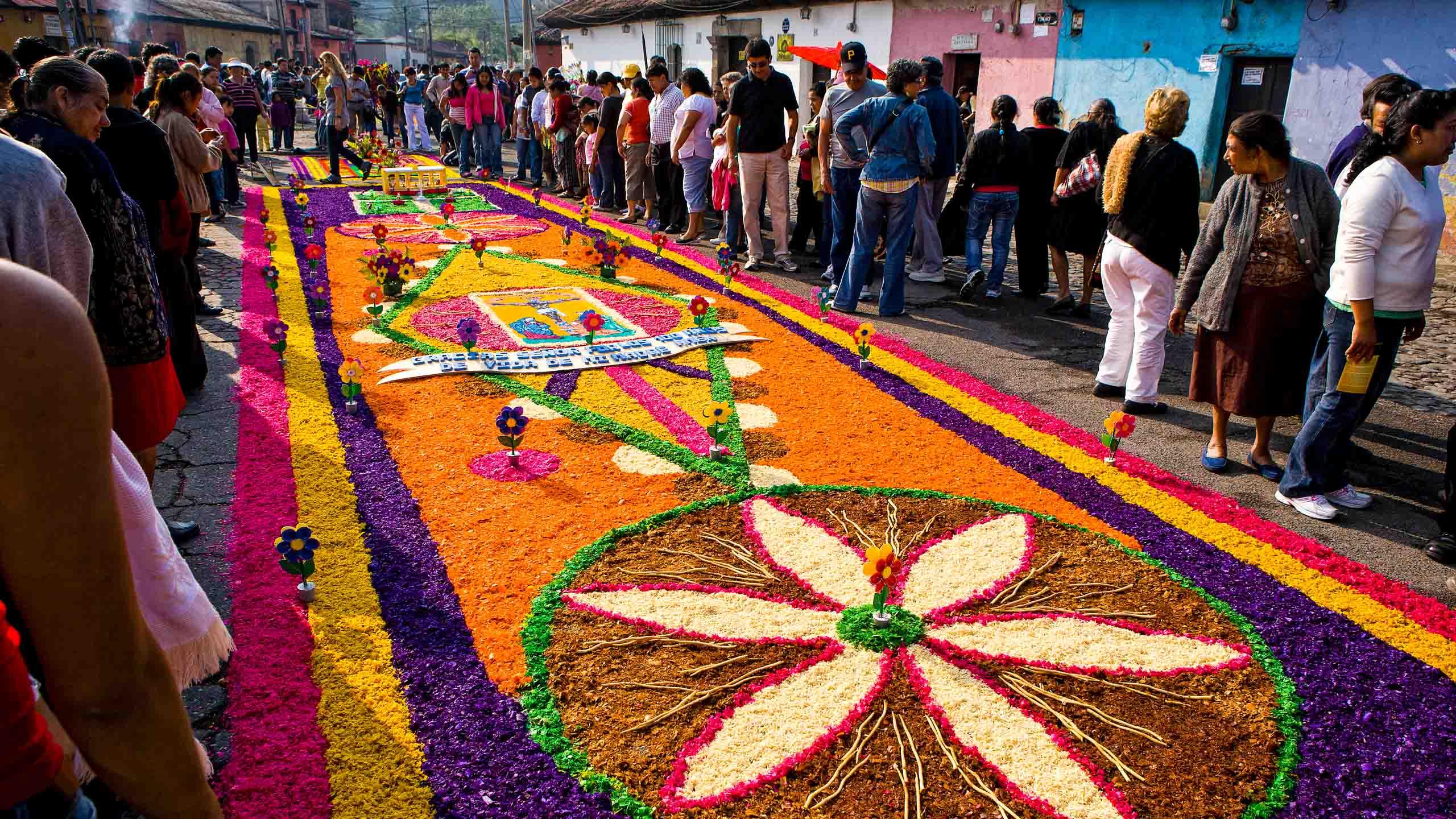 Flower petals in designs on Guatemala street