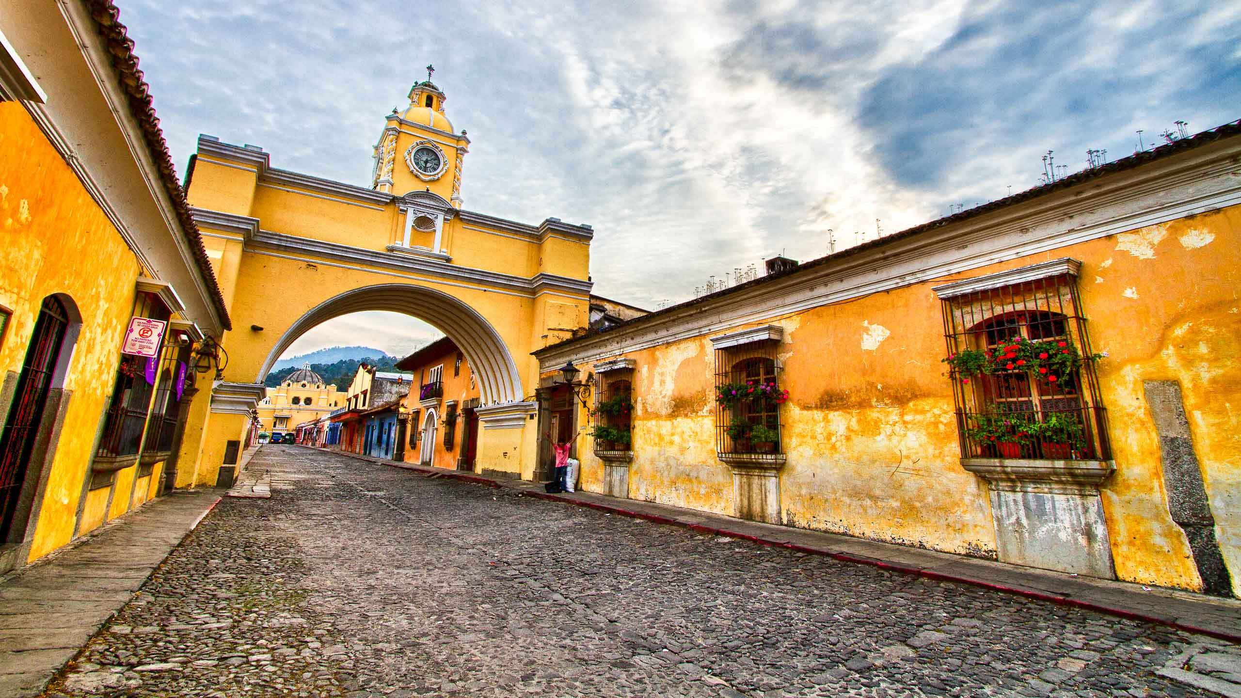 Guatemalan street with archway
