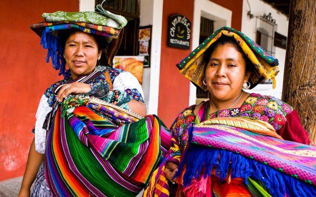Guatemalan women in bright clothing