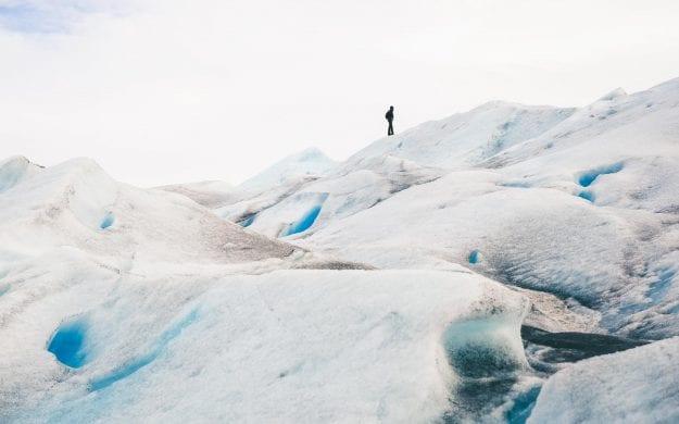 Hiker on Perito Moreno Glacier, Los Glaciares National Park