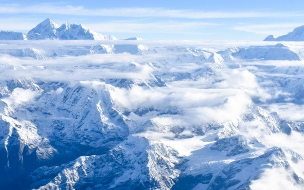Aerial view of clouds over the Himalayas