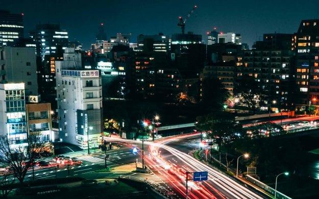 Nighttime view of Hiroshima, Japan