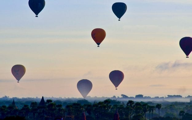Hot air balloons in Myanmar sky