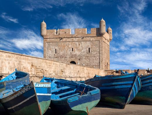 Blue boats in harbour of Essaouira in Morocco